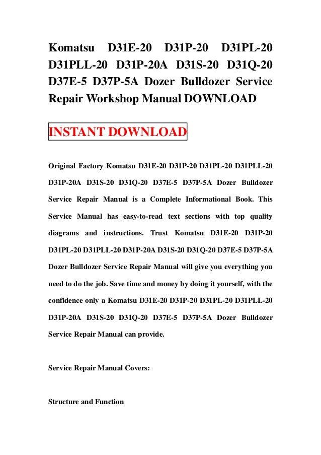 download komatsu d37e 2 d37p 2 bulldozer service repair shop manual