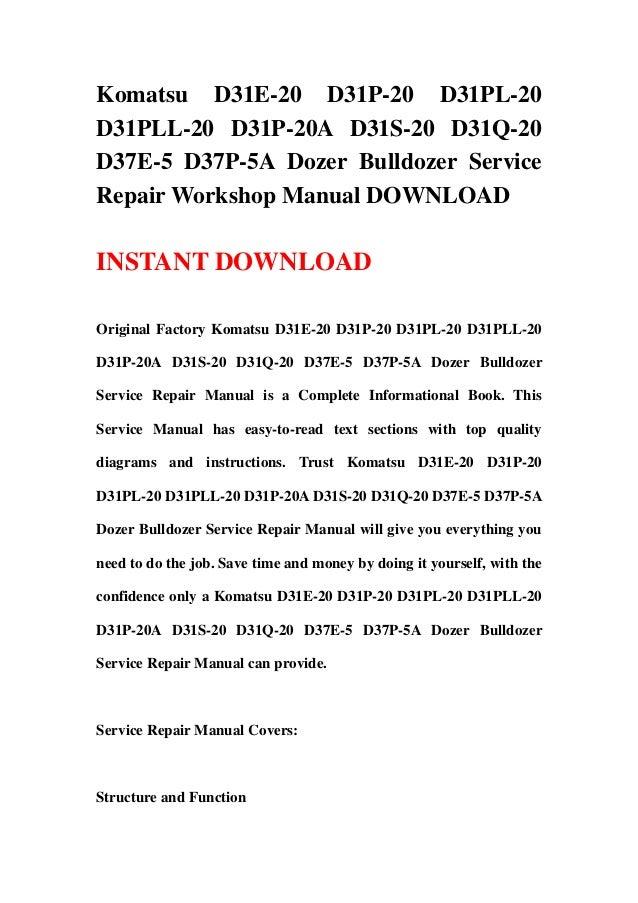 download komatsu d37e 5 d37p 5a bulldozer service repair shop manual