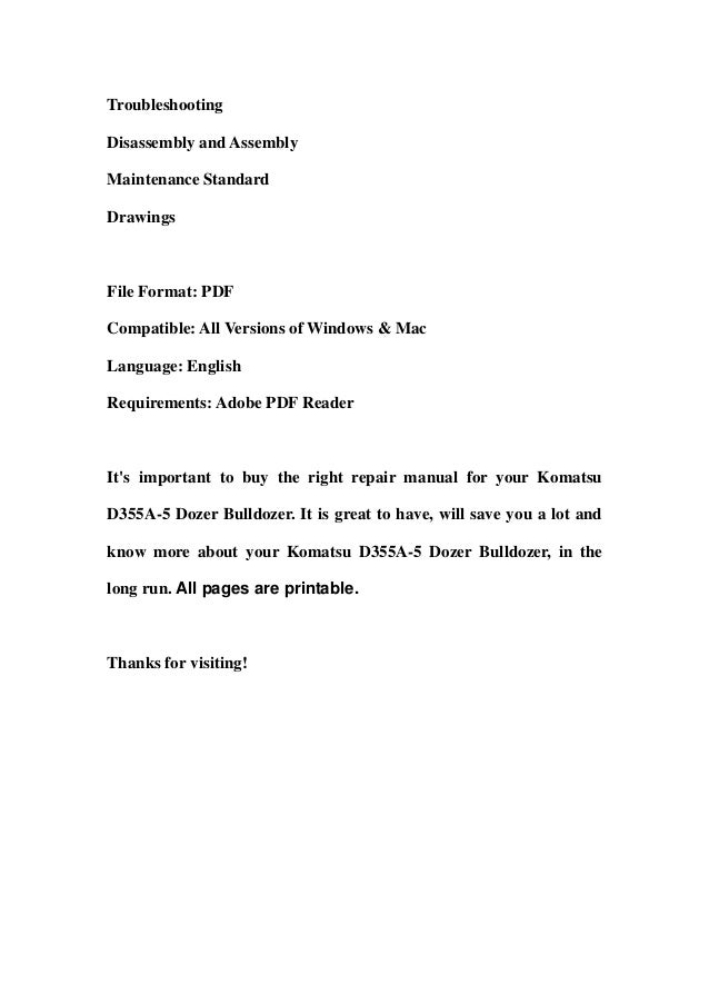 Komatsu d355 a 5 dozer bulldozer service repair workshop manual download (sn 12622 and up) Slide 2