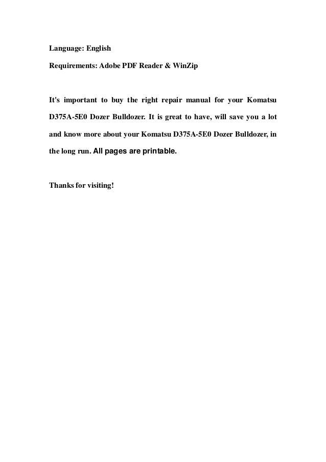 Komatsu d375 a 5e0 dozer bulldozer service repair workshop manual download (sn 50001 and up) Slide 3
