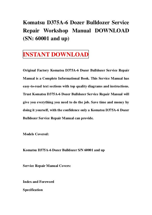 download komatsu bulldozer d375a 3 d375 dozer service repair workshop manual