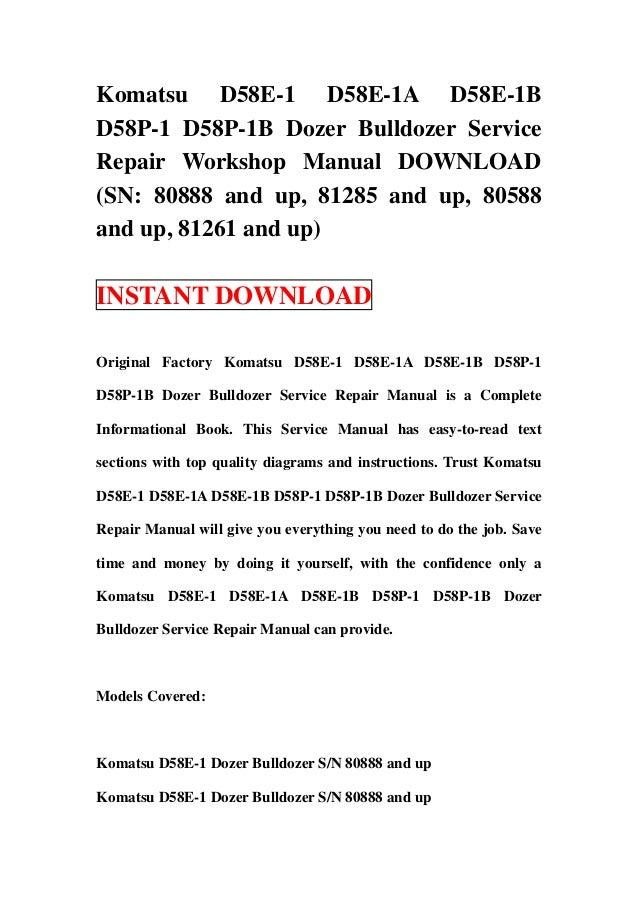 download komatsu d58e 1 1a 1b d58p 1 1b bulldozer service repair shop manual