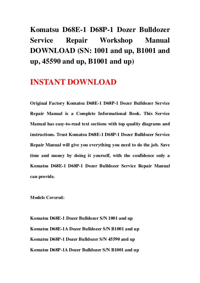 Komatsu d68p dozer Manual