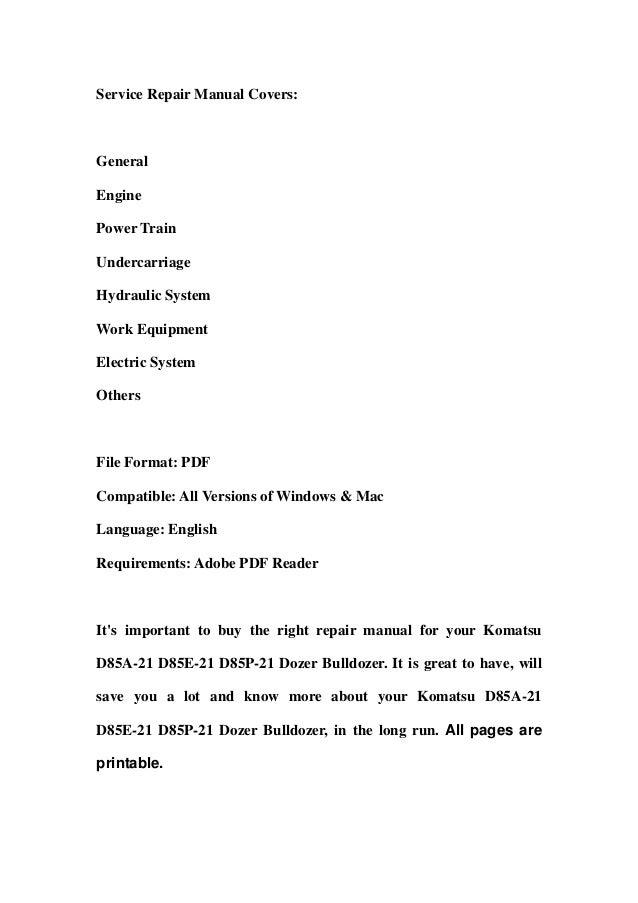 Komatsu Bulldozer D355-A3  D355 A 3  Service Repair  Shop Manual