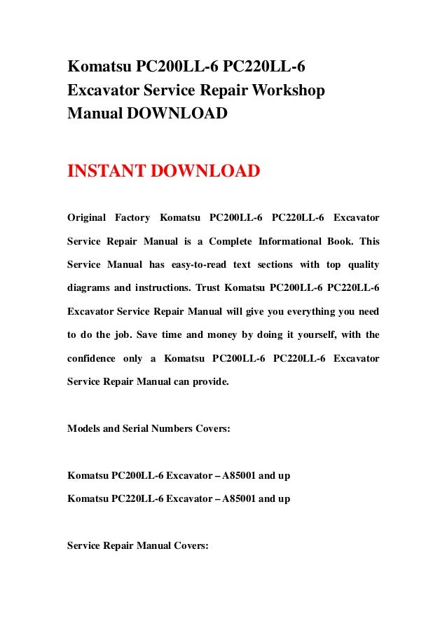 download komatsu pc200ll 7l pc220ll 7l excavator manual