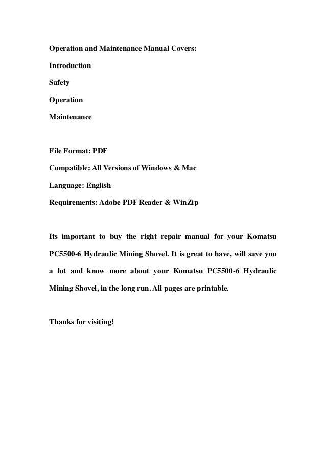 komatsu pc5500 6 hydraulic mining shovel service repair workshop manual download sn 15011