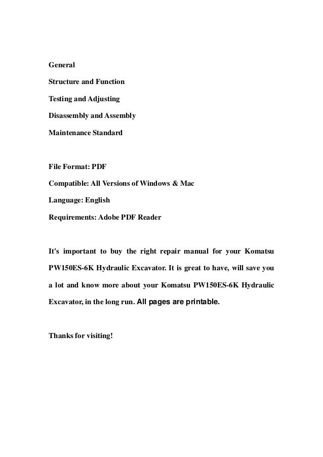 GeneralStructure and FunctionTesting and AdjustingDisassembly and AssemblyMaintenance StandardFile Format: PDFCompatible: ...