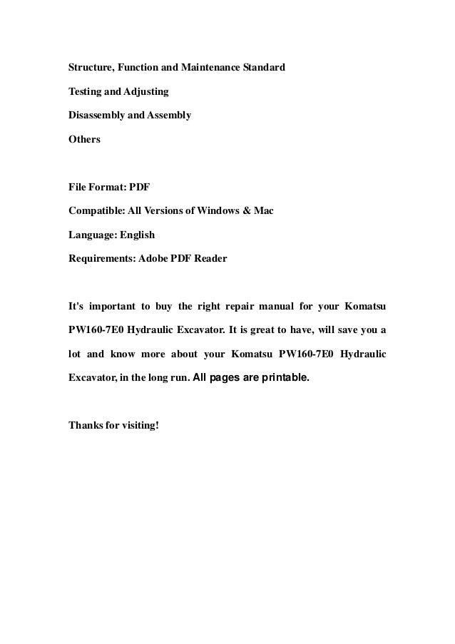 Komatsu pw160 7 e0 hydraulic excavator service repair workshop manual download (sn h55051 and up) Slide 2