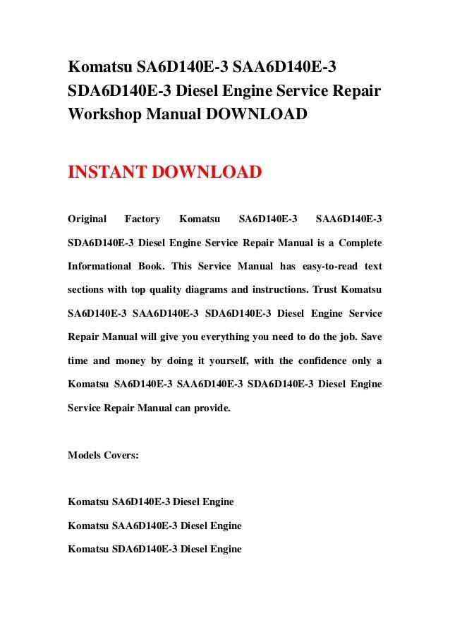 download komatsu 140e 5 engine saa6d140e 5 service shop manual