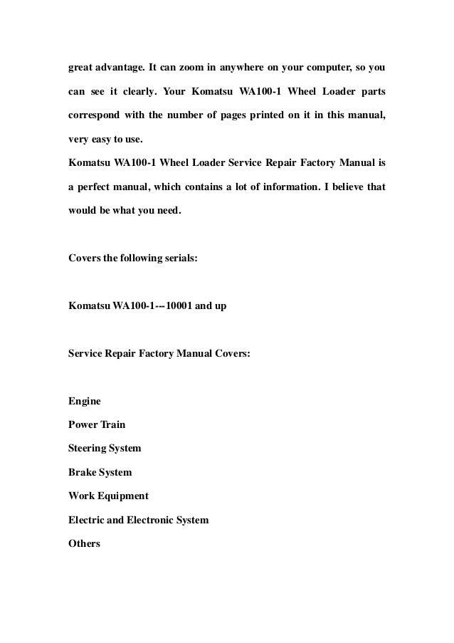 Komatsu wa100 1 wheel loader service repair factory manual instant do komatsu wa100 1 wheel loader service repair factory manual instant download sn 10001 and up sciox Gallery