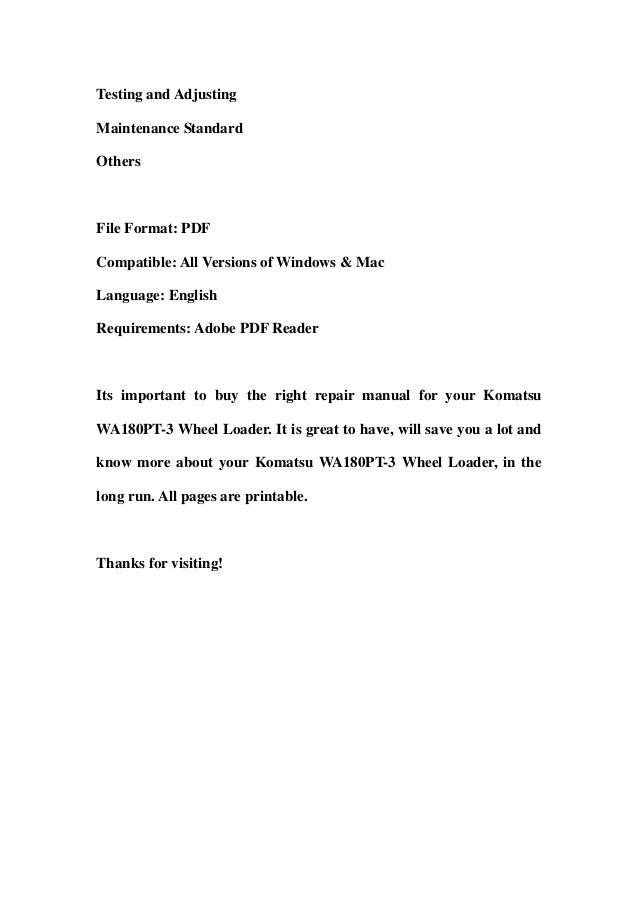 Komatsu wa180 pt 3 wheel loader service repair workshop manual downlo…