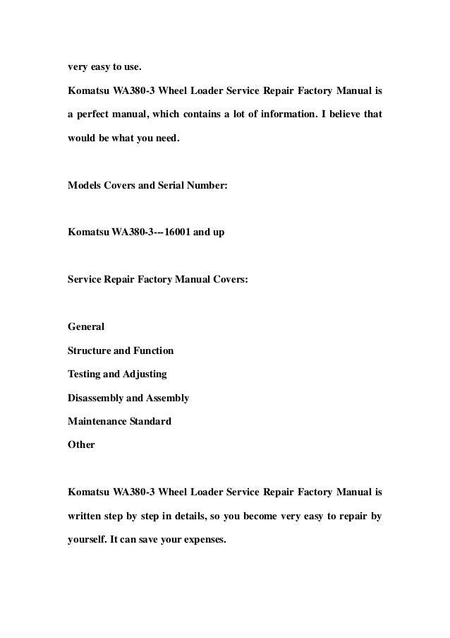 komatsu wa380 3 wheel loader service repair factory manual. Black Bedroom Furniture Sets. Home Design Ideas
