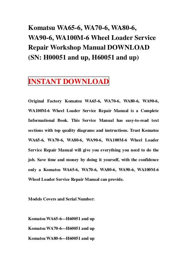 Komatsu wa65 6 wa70 6 wa80 6 wa90 6 wa100 m 6 wheel loader servic sciox Gallery