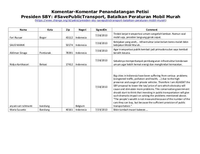 Komentar-Komentar Penandatangan Petisi Presiden SBY: #SavePublicTransport, Batalkan Peraturan Mobil Murah (https://www.cha...