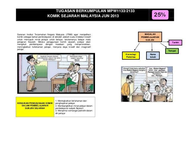 TUGASAN BERKUMPULAN MPW1133/2133 KOMIK SEJARAH MALAYSIA JUN 2013  MASALAH PEMBELAJARAN SUBJEK SEJARAH  Saranan Institut Te...