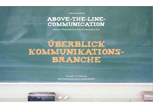Lehrveranstaltung  ABOVE-THE-LINE-  COMMUNICATION   Wie man erfolgreiche Kommunikationskampagnen plant   ÜBERBLICKKOMMUNIK...