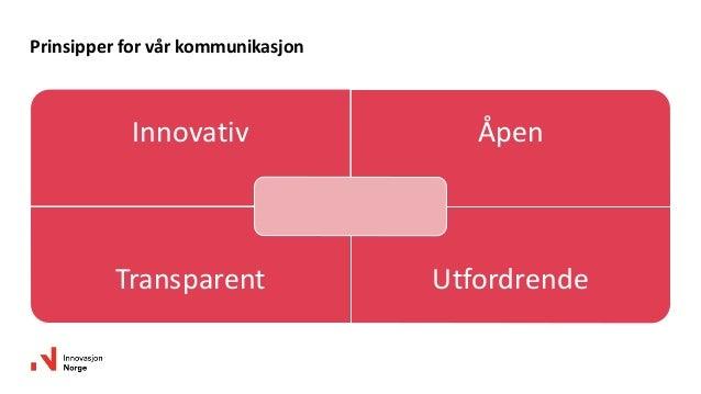 Innovativ Åpen Transparent Utfordrende Prinsipper for vår kommunikasjon