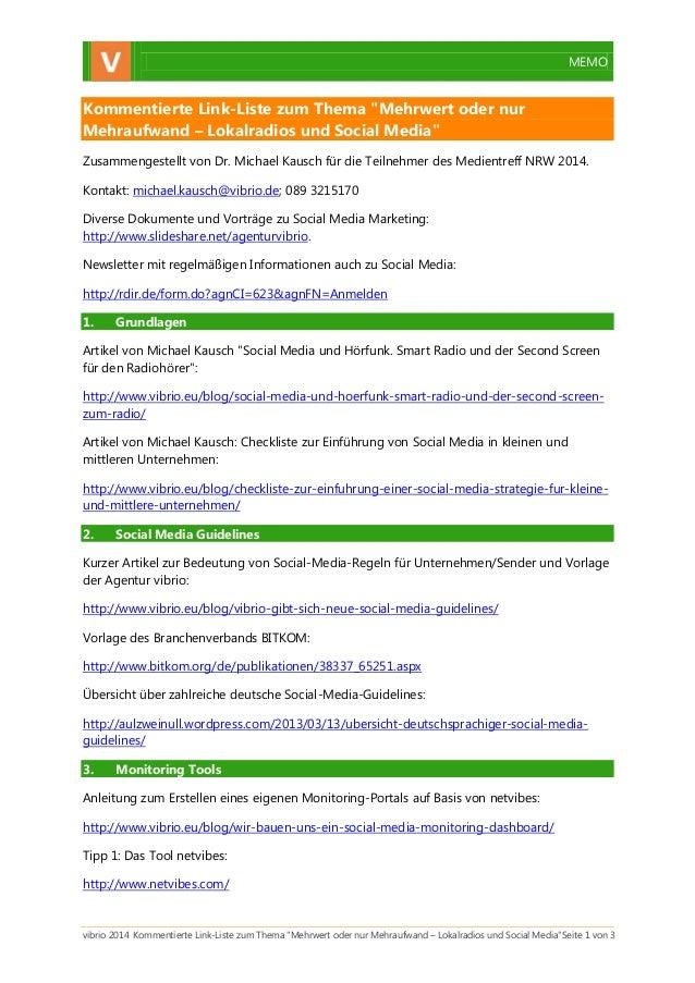 """MEMO  vibrio 2014 Kommentierte Link-Liste zum Thema """"Mehrwert oder nur Mehraufwand – Lokalradios und Social Media""""Seite 1 ..."""