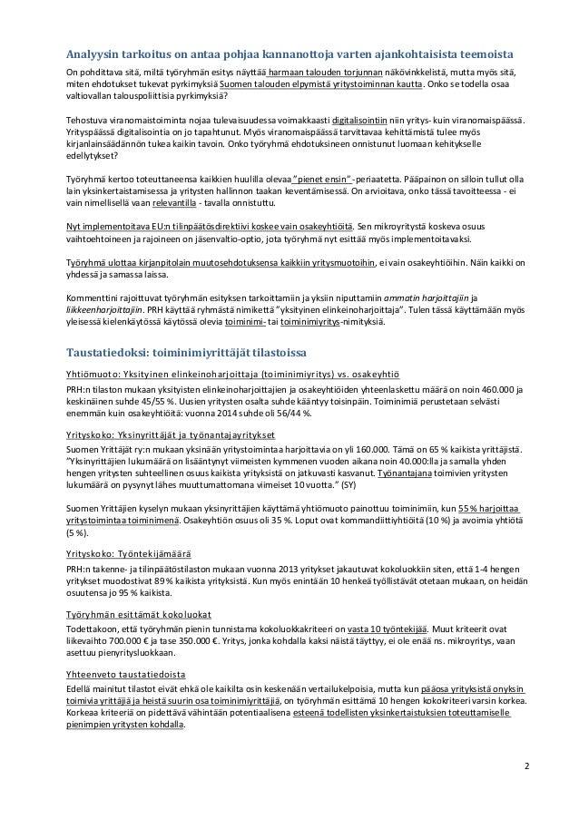 Toiminimet KPL työryhmän esityksessä. Kommenttini 23.3.2015 Slide 2