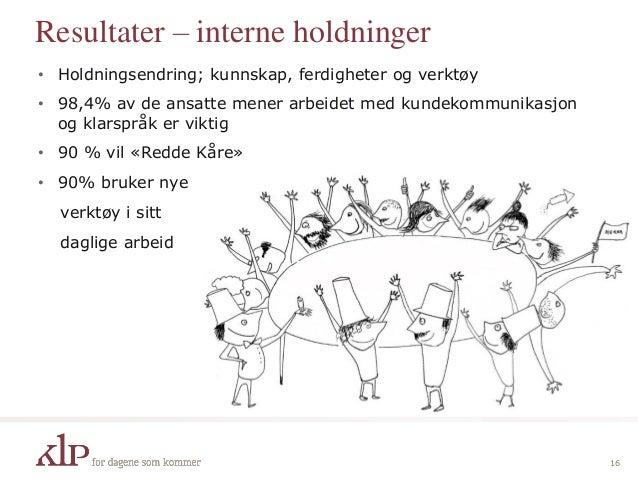 Resultater – interne holdninger • Holdningsendring; kunnskap, ferdigheter og verktøy • 98,4% av de ansatte mener arbeidet ...