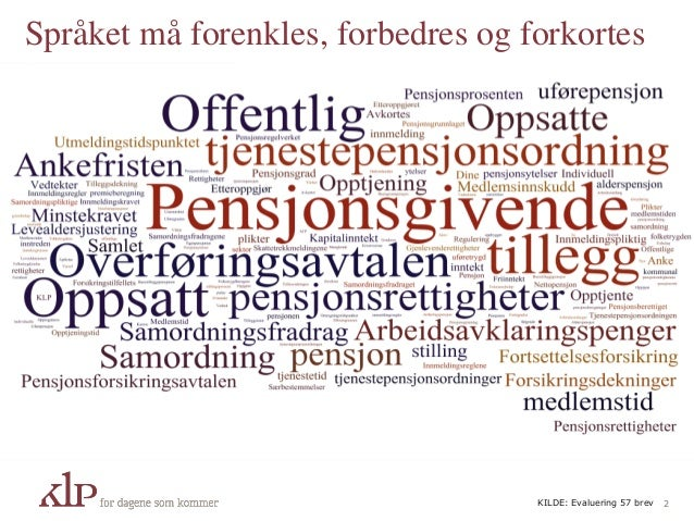 Språket må forenkles, forbedres og forkortes 2KILDE: Evaluering 57 brev