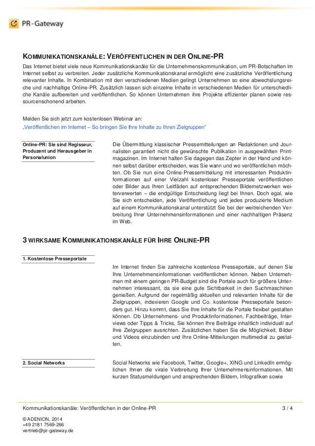 Kommunikationskanäle: Inhalte veröffentlichen in der Online-PR Slide 3