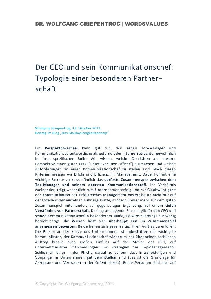 DR. WOLFGANG GRIEPENTROG | WORDSVALUESDer CEO und sein Kommunikationschef:Typologie einer besonderen Partner-schaftWolfgan...