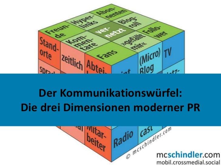 Der Kommunikationswürfel:Die drei Dimensionen moderner PR