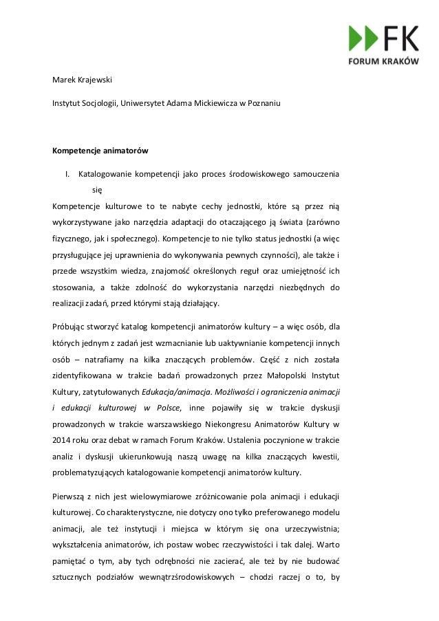 Marek Krajewski Instytut Socjologii, Uniwersytet Adama Mickiewicza w Poznaniu Kompetencje animatorów I. Katalogowanie komp...