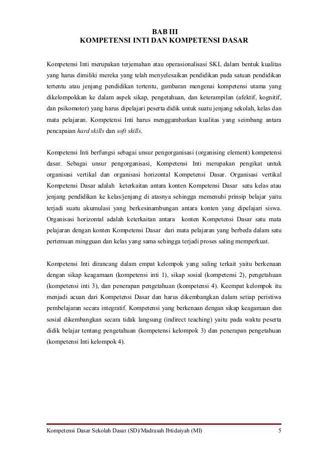 BAB III             KOMPETENSI INTI DAN KOMPETENSI DASARKompetensi Inti merupakan terjemahan atau operasionalisasi SKL dal...