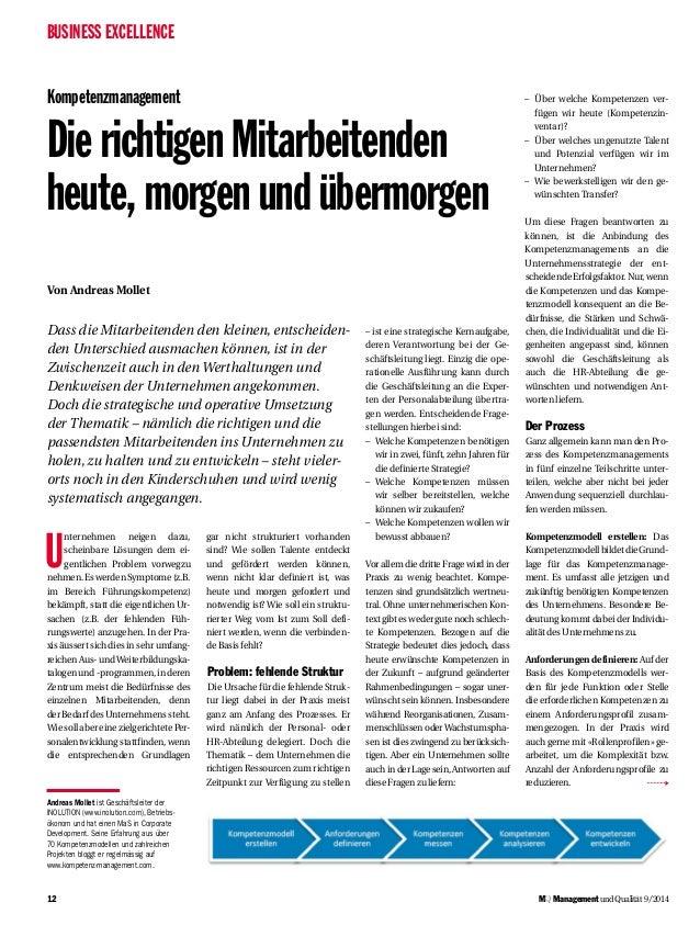 BUSINESS EXCELLENCE  12  MQ Management und Qualität 9/2014  Kompetenzmanagement  Die richtigen Mitarbeitenden  heute, morg...