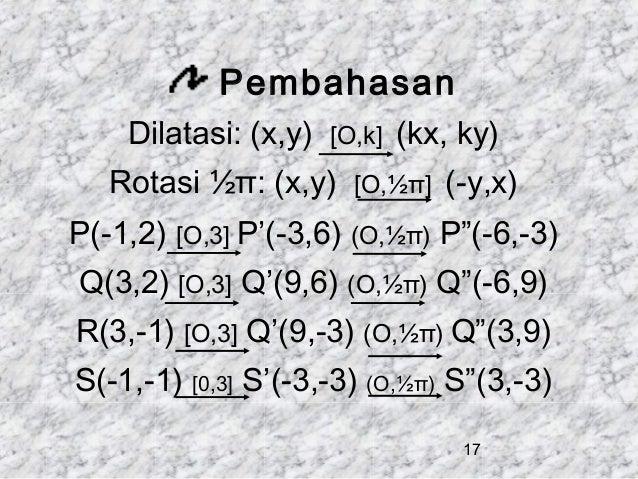 "Pembahasan Dilatasi: (x,y)  [O,k]  Rotasi ½π: (x,y) P(-1,2)  (kx, ky)  [O,½π]  [O,3] P'(-3,6) (O,½π)  (-y,x) P""(-6,-3)  Q(..."