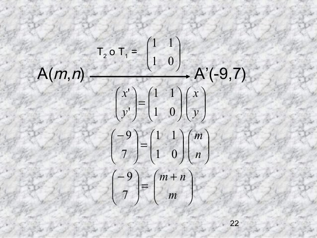 A(m,n)  1 1  T2 o T 1 =  1 0      A'(-9,7)   x '  1 1   x   =  y '  1 0   y            − ...