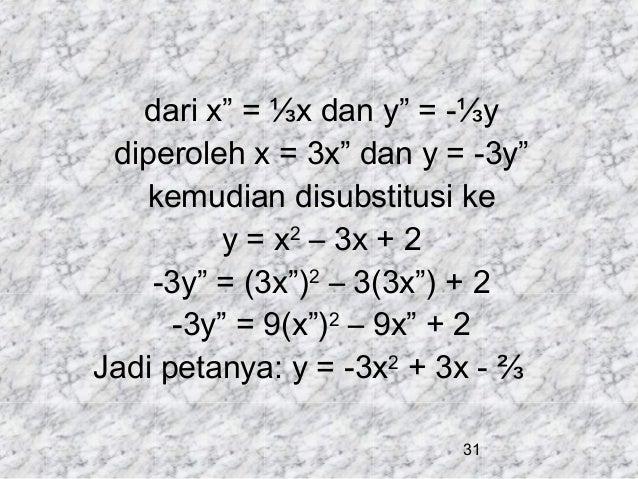 "dari x"" = ⅓x dan y"" = -⅓y diperoleh x = 3x"" dan y = -3y"" kemudian disubstitusi ke y = x2 – 3x + 2 -3y"" = (3x"")2 – 3(3x"") +..."