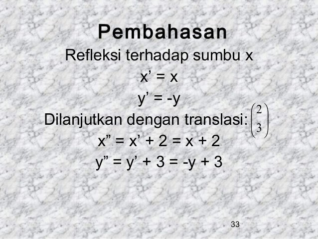 "Pembahasan  Refleksi terhadap sumbu x x' = x y' = -y  2 Dilanjutkan dengan translasi:  3      x"" = x' + 2 = x + 2 ..."