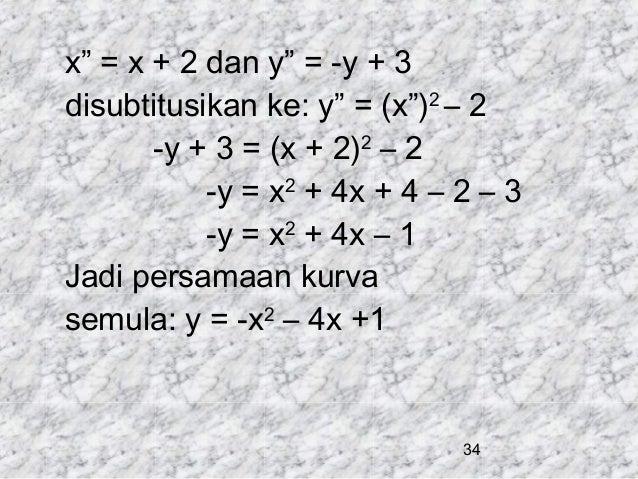 "x"" = x + 2 dan y"" = -y + 3 disubtitusikan ke: y"" = (x"")2 – 2 -y + 3 = (x + 2)2 – 2 -y = x2 + 4x + 4 – 2 – 3 -y = x2 + 4x –..."