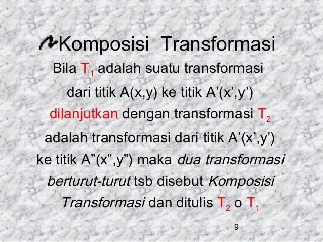 Komposisi Transformasi Bila T1 adalah suatu transformasi dari titik A(x,y) ke titik A'(x',y') dilanjutkan dengan transform...
