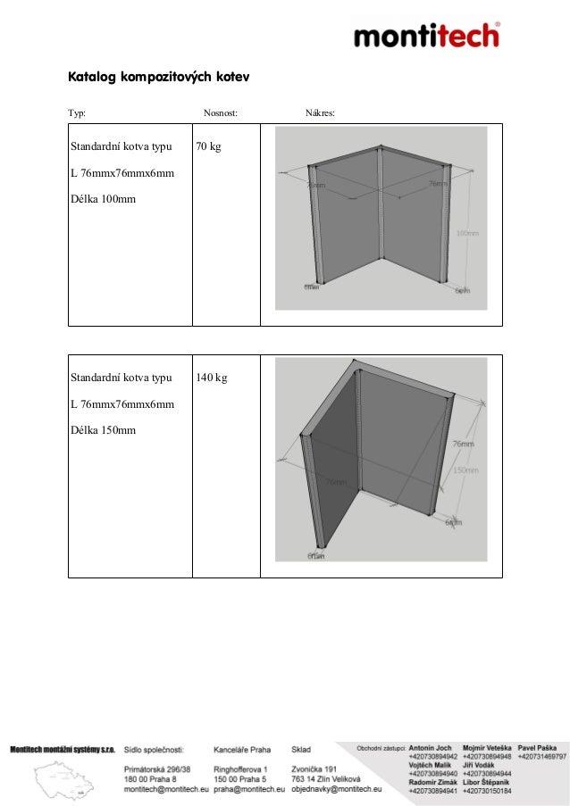 Katalog kompozitových kotev Typ: Nosnost: Nákres: Standardní kotva typu L 76mmx76mmx6mm Délka 100mm 70 kg Standardní kotva...