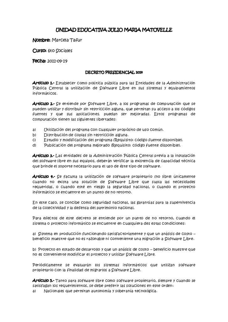 UNIDAD EDUCATIVA JULIO MARIA MATOVELLENombre: Marcela TafurCurso: 6to SocialesFecha: 2011-09-19                           ...
