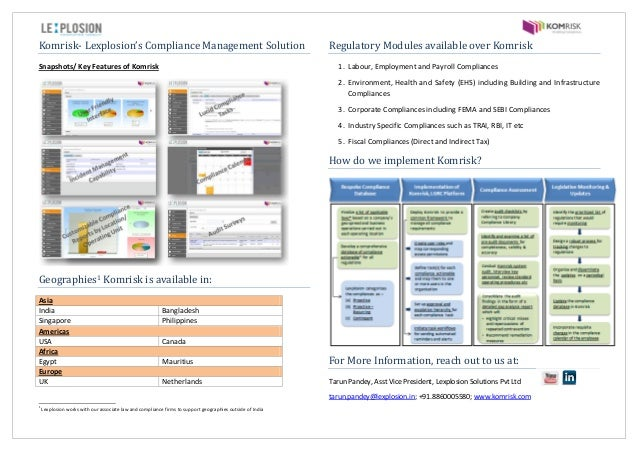 Komrisk- Lexplosion's Compliance Management Solution Snapshots/ Key Features of Komrisk Geographies1 Komrisk is available ...