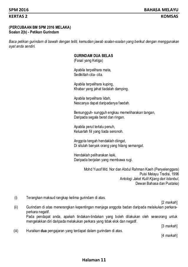 Soalan Gurindam Dua Belas Fasal Ketiga Selangor L