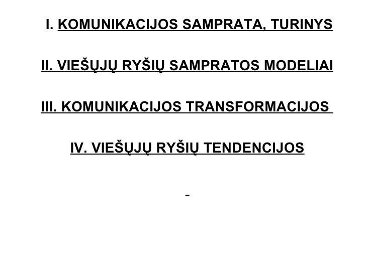 I.  KOMUNIKACIJOS SAMPRATA, TURINYS II. VIEŠŲJŲ RYŠIŲ SAMPRATOS MODELIAI III. KOMUNIKACIJOS TRANSFORMACIJOS  IV. VIEŠŲJŲ R...