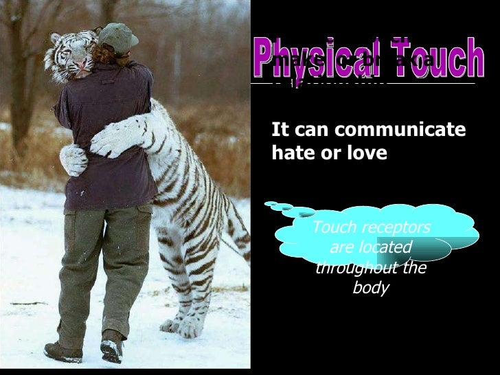 Physical Touch Physical touch can make  or break a relationship.  It can communicate hate or love   Touch receptors are lo...