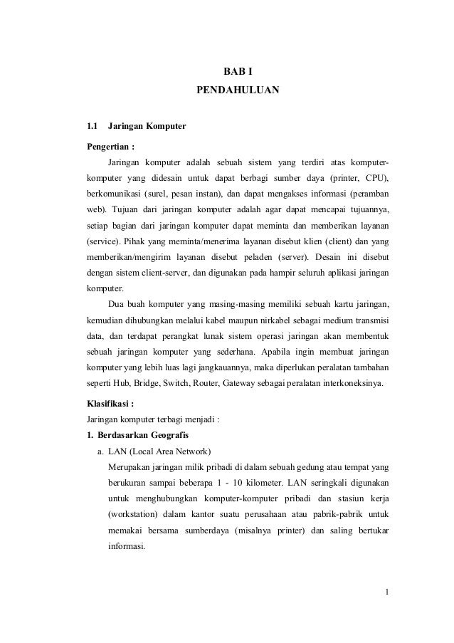 Komunikasi Data Dan Jaringan Komputer Laporan Praktikum 1 Teknik Pe