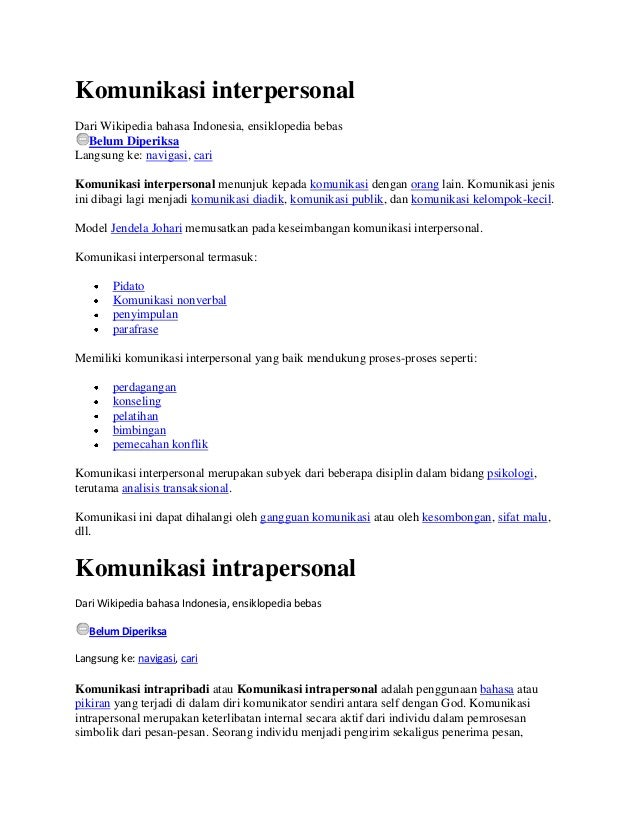 Komunikasi interpersonalDari Wikipedia bahasa Indonesia, ensiklopedia bebas  Belum DiperiksaLangsung ke: navigasi, cariKom...