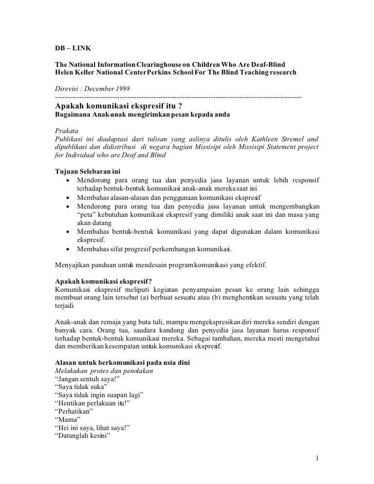 DB – LINK  The National Information Clearinghouse on Children Who Are Deaf-Blind Helen Keller National Center Perkins Scho...