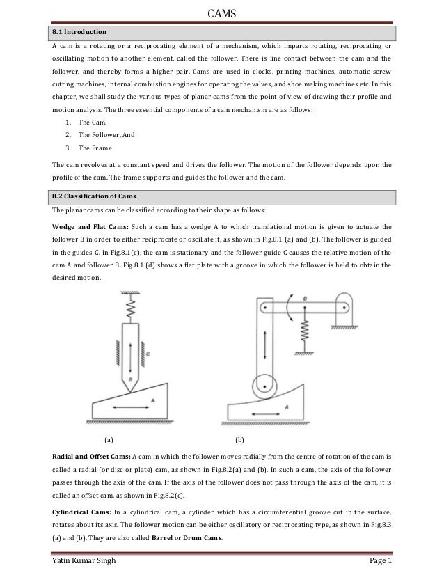 CAMS Yatin Kumar Singh Page 1 8.1 Introduction A cam is a rotating or a reciprocating element of a mechanism, which impart...