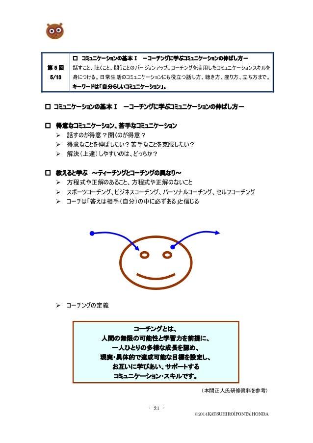 - 21 - ©2014KATSUHIRO[PONTA]HONDA 第 5 回 5/13 □ コミュニケーションの基本Ⅰ -コーチングに学ぶコミュニケーションの伸ばし方- 話すこと、聴くこと、問うことのバージョンアップ。コーチングを活用したコミ...