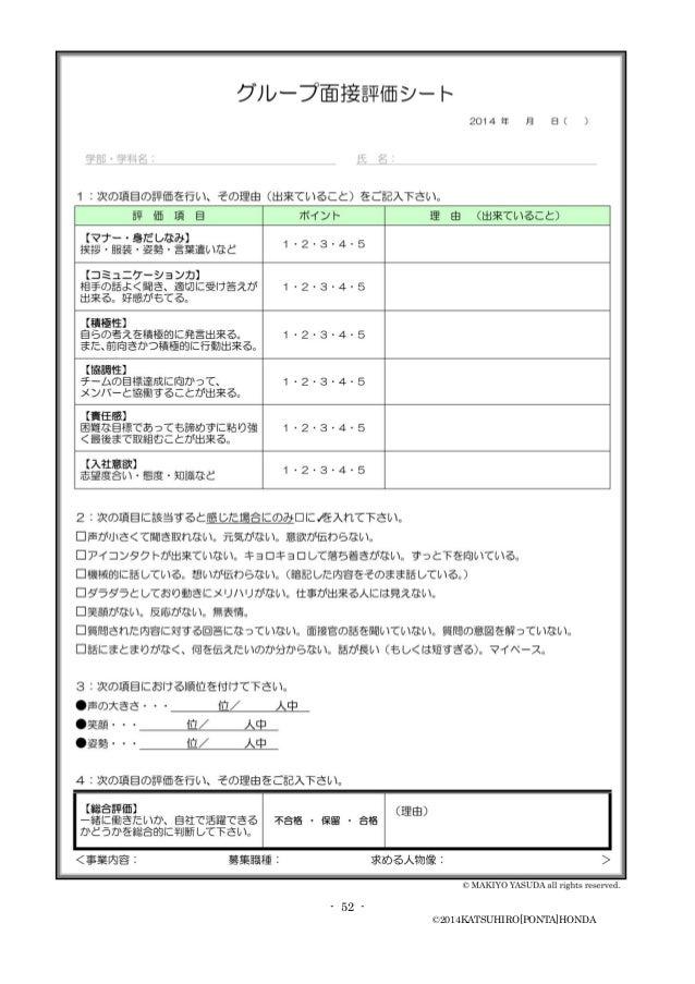- 52 - ©2014KATSUHIRO[PONTA]HONDA 模擬面接用 「面接質問集」