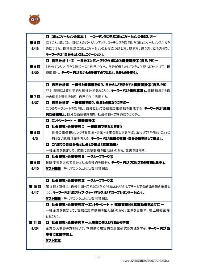 - 6 - ©2014KATSUHIRO[PONTA]HONDA 第 5 回 5/13 □ コミュニケーションの基本Ⅰ -コーチングに学ぶコミュニケーションの伸ばし方- 話すこと、聴くこと、問うことのバージョンアップ。コーチングを活用したコミュ...